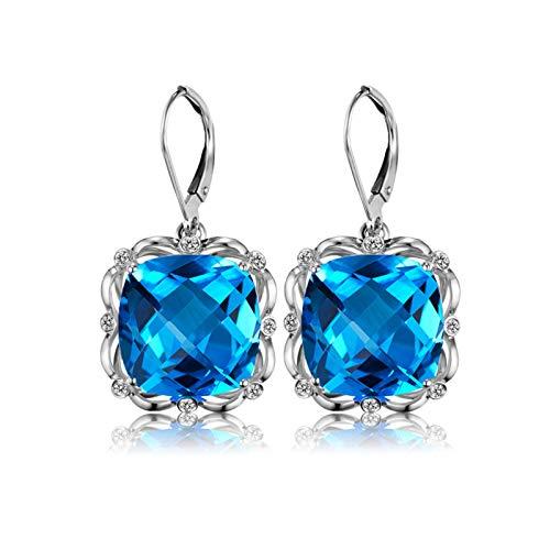 Pendientes de Turmalina Diamantes de 4ct Blisfille Joyería Pendientes de Plata Mujer Borla Negra Pendientes de 18K Oro