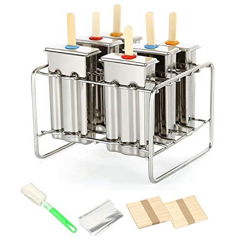 6 Mallen Roestvrij Staal Popsicle Mold Herbruikbare IJs maken Mould DIY Ice Lolly Makers Molding Machine+50 Stks Houten Stick+20 Ice Cream Bag