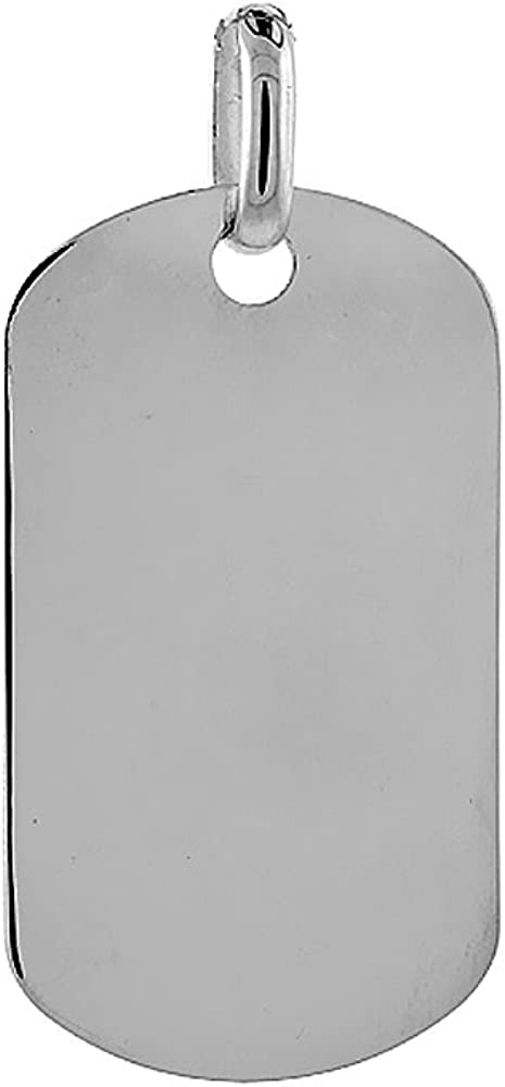 Details about  /Sterling Silver 12mm Small Dog Tag Pendant on Fine Chain Necklace Gift bag