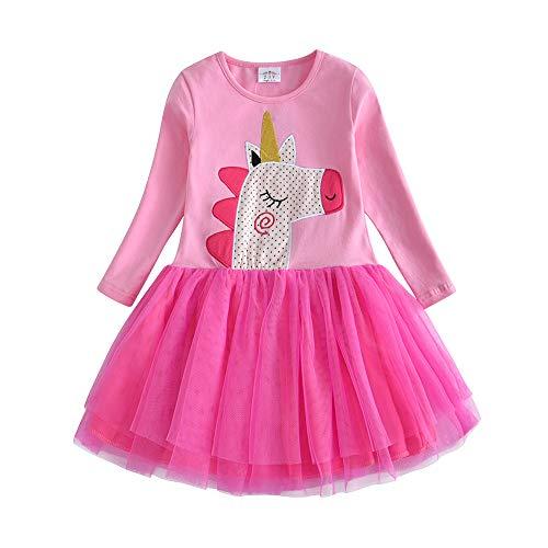 VIKITA Vestido para Niñas Manga Larga Algodón Princesa Casuales Bebe Niñas Lh4559 3T