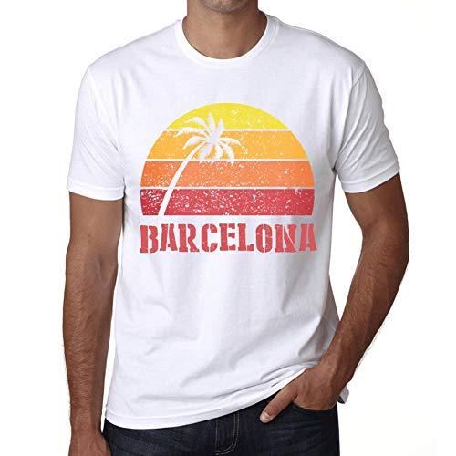 Hombre Camiseta Vintage T-Shirt Gráfico Barcelona Sunset Blanco