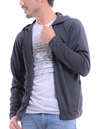 ティーシャツドットエスティー ラッシュガード ドライ 長袖 無地 薄手 ジップアップ フード付き UVカット 4.4oz メンズ ダークグレー S