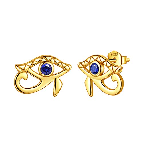 Aurora Tears Egyptian Eye of Horus Stud Earrings 925 Sterling Silver Evil Eye Earring 18K Gold Plated Jewelry for Men and Women DE0233Y