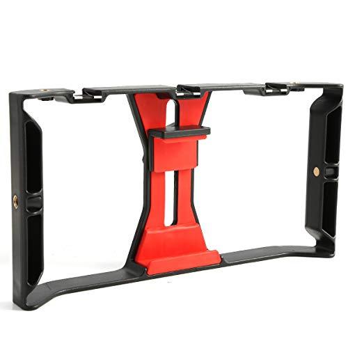 DERCLIVE 1 STK. Videokamera Käfigstabilisator Film Steady Handle Grip Rig für Mobile Smartphones Rot