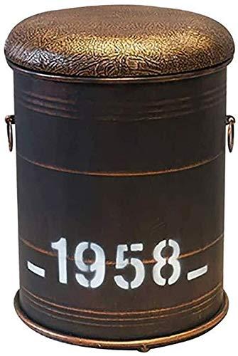 WXD Hocker für die Küchentheke Metall Leder Aufbewahrungssitz Hocker für die Öltrommel Creative Oil Drum Bar Stuhl Hocker Küchenbar Fußschemel