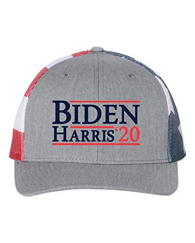 Biden Harris 2020 Campanha Presidencial Joe Biden Kamala Harris Boné de caminhoneiro com costas de malha política, Heather Grey/American Flag, tamanho �nico