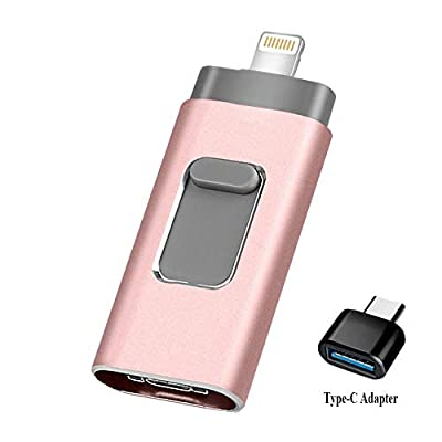 USB Flash Drive 128GB [3-in-1] Compatible iPhone, Kimiandy USB 3.0 Adapter External Storage Memory Stick Adapter Expansion Compatible iPad/iPod/Mac/Android/PC/iOS from Kimiandy
