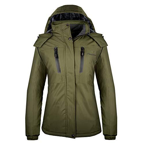 OutdoorMaster Damen Skijacke Basic - Winterjacke mit elastischem Pulverrock & abnehmbarer Kapuze, wasserdicht & winddicht, Damen, olivgrün, X-Large