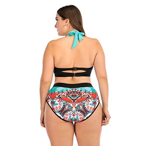 KPILP Fashion Ethnic Style Swimsuit Ladies Plus Size Swimwear High Waisted Two Piece Bikini Set Swimming Trunks Padded Bra Suit Beachwear Halter Neck Bathing Suit(Multicolor,XXL)