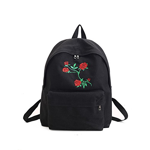 Qinlee Rose Pattern Canvas Backpack Casual Travel Bag Fashional Black and White Student Bookbag for Girls and Women (Black)31 x 39 x 11cm