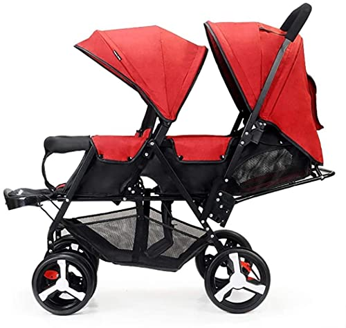 Carrito doble para bebés, doble cochecito de bebé, ligero, plegable, doble plaza, versión todoterreno, ruedas a prueba de explosiones (color azul+gris)