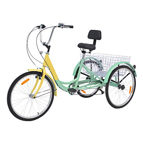 Barbella Adult Tricycle, 24-Inch Single and 7 Speed Three-Wheeled Cruise Bike with Large Size Basket for Recreation, Shopping, Exercise Men's Women's Bike (Purple(7 Speed))