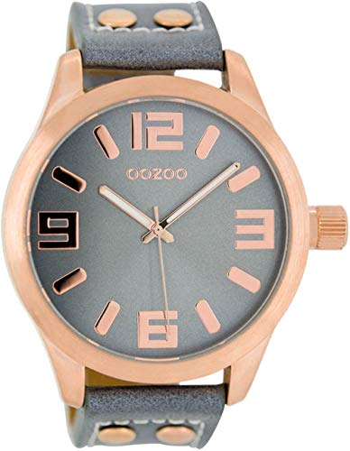 Oozoo Armbanduhr Basic Line mit Lederband 47 MM Rose/Blaugrau/Blaugrau C1154