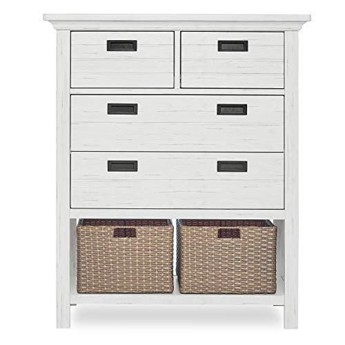 Evolur Waverly Tall Chest with Baskets, Weathered White