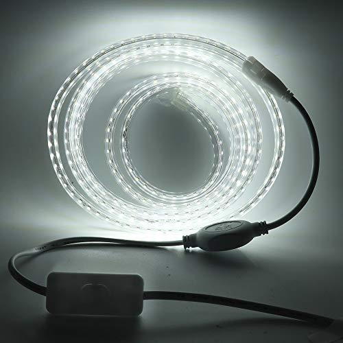 XUNATA Tira de luces LED con interruptor, 220 V, 2835 SMD, 120 LEDs/m, resistente al agua, sin alambre de plomo, flexible, tira de luz LED para la iluminación del hogar, decoración Bar (blanco, 3 m)