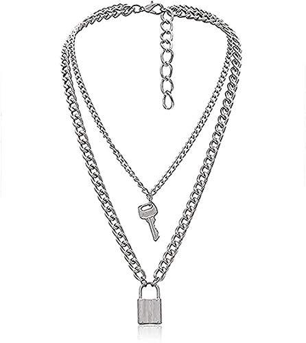 ZGYFJCH Co.,ltd Collar Collar de Moda Collar Punk Lock Key Colgante Gargantilla Collar de Cadena Gruesa Joyas para Mujeres Collar con Colgante de Moda Regalo para Hombres Mujeres Niñas Niños