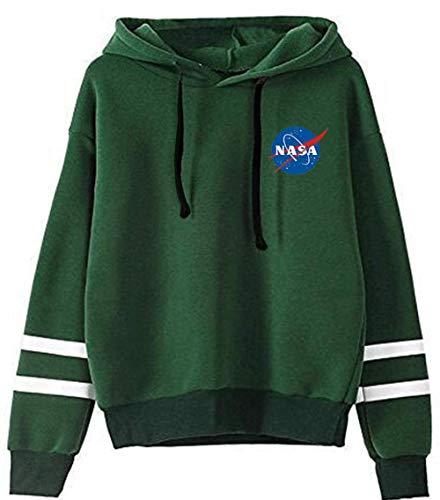 YIMIAO Hombres NASA Sudadera con Capucha Mujer Pullover de Bolsillos Unisex Hoodie de Mangas Largas Sweatshirt(4XL)