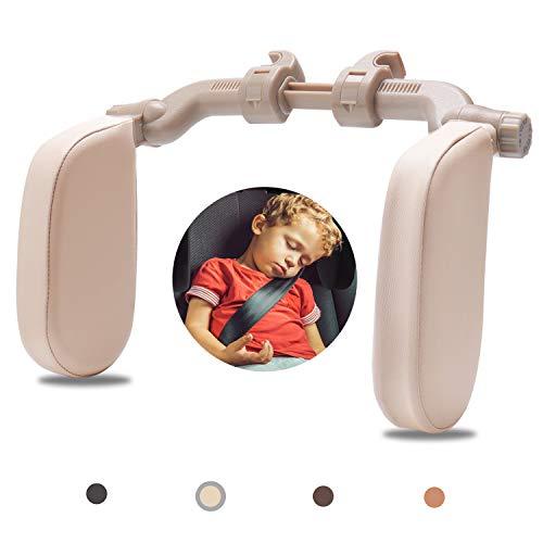 Rajvia Kopfstütze Autositze mit Teleskopstange und Schiebebaren Clips, Seitliches Kopfstützkissen aus Leder für Kinder Erwachsene, Beige