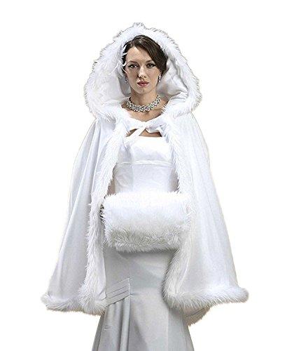 CoCogirls Kurz Brautkleider Warm Winter Pelz Jacke Mit Kapuze Cape Hochzeit Schal Brautverpackungs Brautkleid Hochzeitskleid Brautstola Mantel (Free, Weiß)