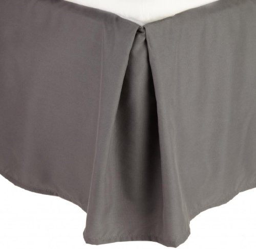 """Clara Clark Premier 1800 Collection Solid Bed Skirt 14\"""" Drop Pleated Tailored Double Brushed Microfiber Dust Ruffle, Queen, Charcoal Gray"""