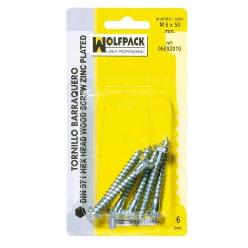 Wolfpack 6092060 Lot de vis tire-fond Barraquero Din571 8 x 50 (6 pièces)
