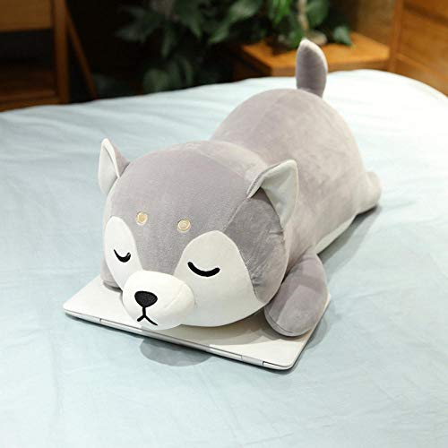 ZZKHSM Weiche Daunen Baumwolle Shiba Inu Hundepuppe niedlichen Plüschtier Neue Cartoon Schlafkissen Geburtstag Geschenk-Grey_Squinting
