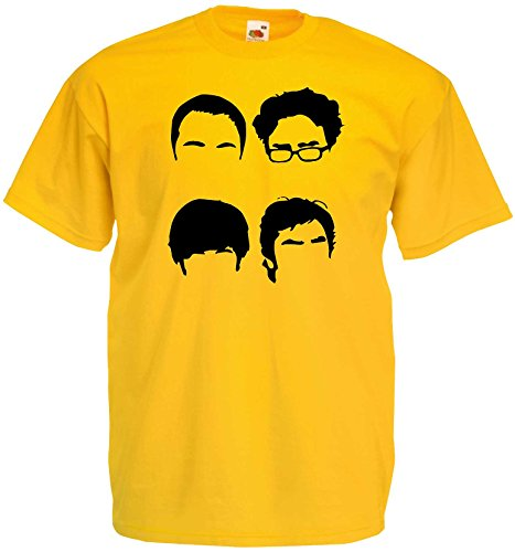 World-of-Shirt Herren T-Shirt Big Bang Theory Fab Four|gelb-XL