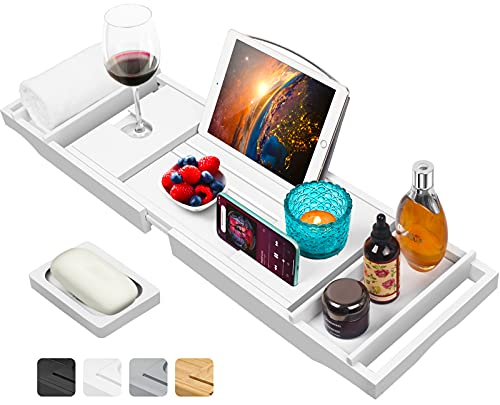Luxury Bamboo Bathtub Caddy Tray with Book and Wine Holder,Bath Accessories & Bed Tray with Extending Sides,Bathroom Organizer for Men/Women,Free Soap Holder,White