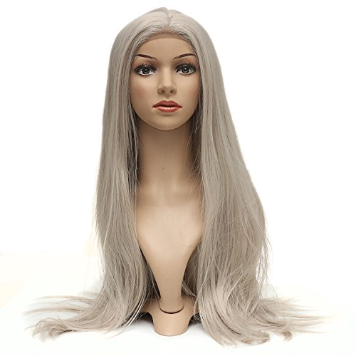 Bluelover 28Inch Straight Bang Synthèse Cheveux Long Full Perruque Cosplay Ancienne Dentelle Femmes