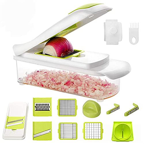 TIYKI 9 in 1 Vegetable Chopper Slicer Dicer for Onions Tomatoes and Bell Peppers Kitchen Manual Vegetable Spiral Suitable for kitchen, vegetables (Color : Fluorescent Green)