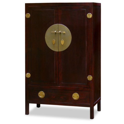 Best Prices! China Furniture Online Elmwood Armoire, 39 Inches Ming Style TV Cabinet Cherry Finish