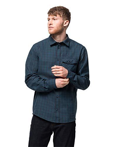 Jack Wolfskin Herren Island Peak Shirt M Longsleeve, Night Blue Checks, L