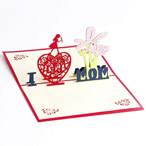 Honrik 3D Pop Up Greeting Card, Handmade Mother's Day Birthday Card Card with Matching Envelope for Mom Mother's Birthday and Mother Greeting Card I Love Mom Card with Envelope