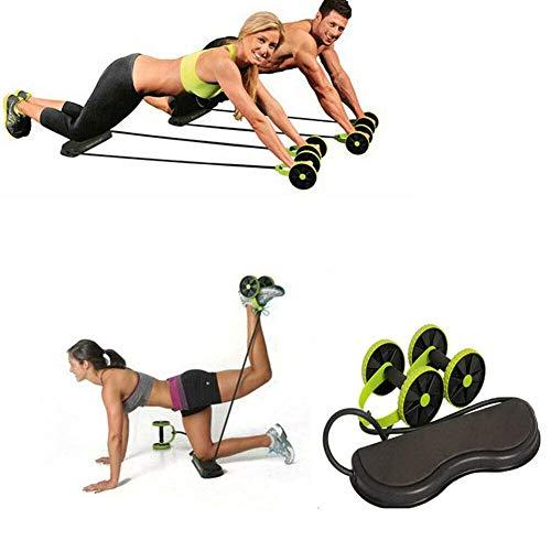 Ab Roller Bauchmuskeltrainer Bauchroller Trainer mit 4 Roller Elastisch Widerstandsband Pedal Bauch Training Rad für Zuhause Fitness Workout Trainingsgeräte (Grün, OneSize)