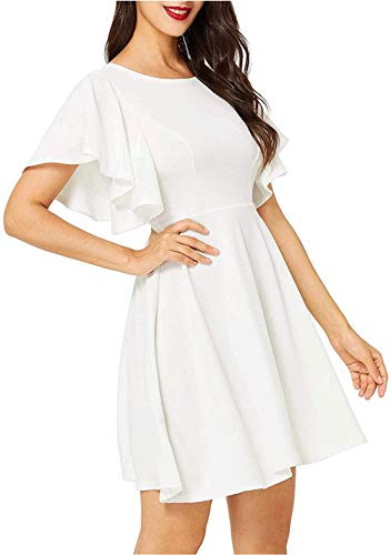 Romwe Women's Stretchy A Line Swing Flared Skater Cocktail Party Dress White XL
