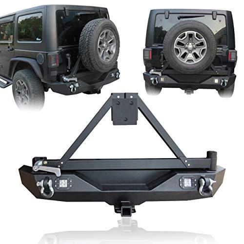 Hunter Rear Bumper Texture Black with Tire Bracket and LED Lights for 2007-2017Jeep Wrangler JK/JKU