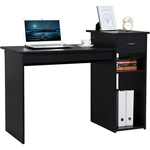 Yaheetech Home Office Small Computer Desk with Shelf and Drawer,112x50x82cm,Black