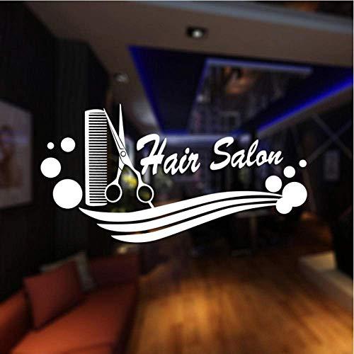 Adesivo murale Adesivo negozio di barbiere Nome Forbici Parrucchiere Decal Neutral Haircut Poster Vinile Wall Art Decalcomanie Decor Decorazioni per finestre 30X58Cm