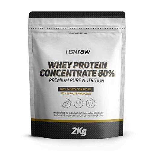 Proteína Concentrada de Suero de Leche de HSN | Whey Protein Concentrate 80% | Proteína Neutra | Apto para la Dieta Vegetariana | Sin Gluten, Sin Soja | Para Ganar Masa Muscular | 2000 gr