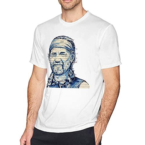 IUBBKI Feelin 'Willie Fashion Cotton Men' Camiseta Estampada de Manga Corta Blanca