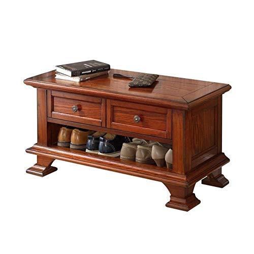 JIADUOBAO Zapatero de madera maciza de roble, gabinete de zapatos de interior con 2 cajones, estilo europeo