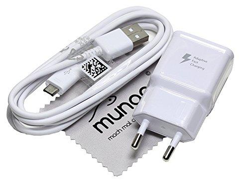 Ladegerät für Original Blitz Schnell Samsung 2A USB + 1,5m Ladekabel für Samsung Galaxy S5 Neo (G903F) Daten Kabel mit mungoo Displayputztuch