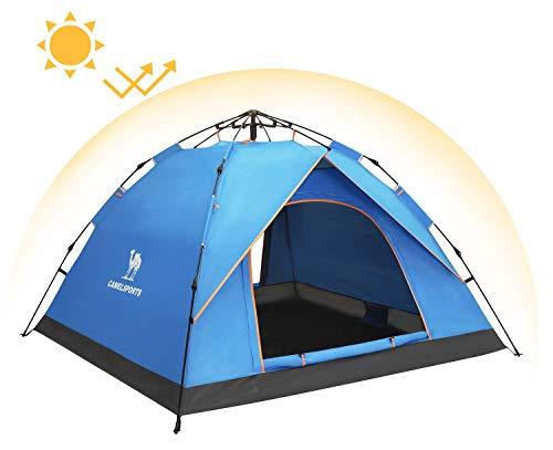 CAMEL CROWN Zelt Leichtbau Trekkingzelt Sonnenschutz 3.06KG Familienzelt, 2-Personen mit 1 Kind Für Camping Outdoor Park Feldkoch