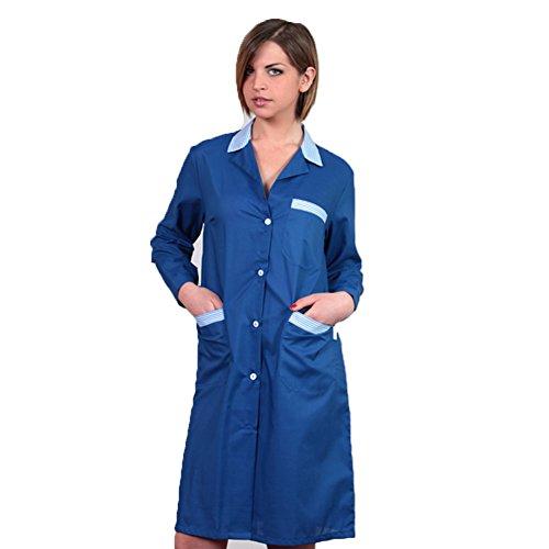 FRATELLIDITALIA Damenkittel zweifarbig, für Arbeit, Reinigung, häusliche Tätigkeiten, Fabrikarbeiten im Lebensmittelbereich L Königsblau