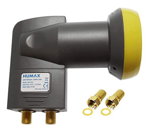 Humax Gold Twin LNB, digitales Satelliten universal LNB mit LTE-Filter für 2 Teilnehmer inkl. Wetterschutzgehäuse und F-Steckern mit Dichtung für besten Satempfang in HD, Full HD, UHD, 4K und 8K