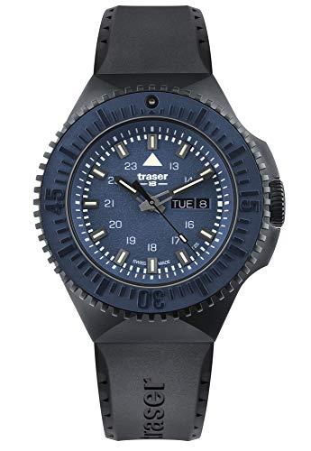 Traser H3 Tactical Watches P69 Black Stealth Military - Reloj de pulsera (correa de caucho), color azul
