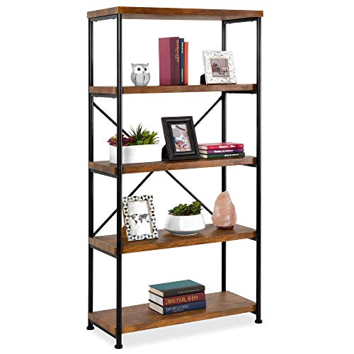Best Choice Products 5-Tier Rustic Industrial Bookshelf Display Décor Accent for Living Room, Bedroom, Office w/Metal Frame, Wood Shelves - Brown