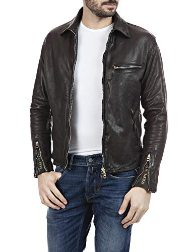 Replay Herren M8118 .000.83708K Lederjacke, 30 Dark Brown, XS