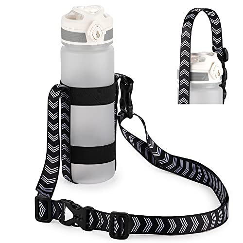 EasyAcc Water Bottle Carrier with Adjustable Shoulder Strap, Hands Free Universal Bottle Sling with Carabiner and Elastic Band for Daily Walking Hiking Travel Camping Gym Shopping(Bottle Excluded)