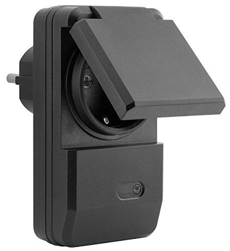 mumbi 1100 Watt Outdoor Funksteckdose Erweiterung für mumbi 4-Kanal Funkschalter Set der Serie AFS202 - Plug & Play 1 Aussen-Funkschalter schwarz